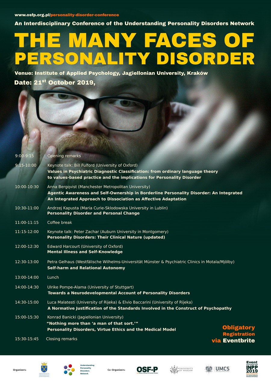 Konferencja naukowa 'The Many Faces of Personality Disorder'